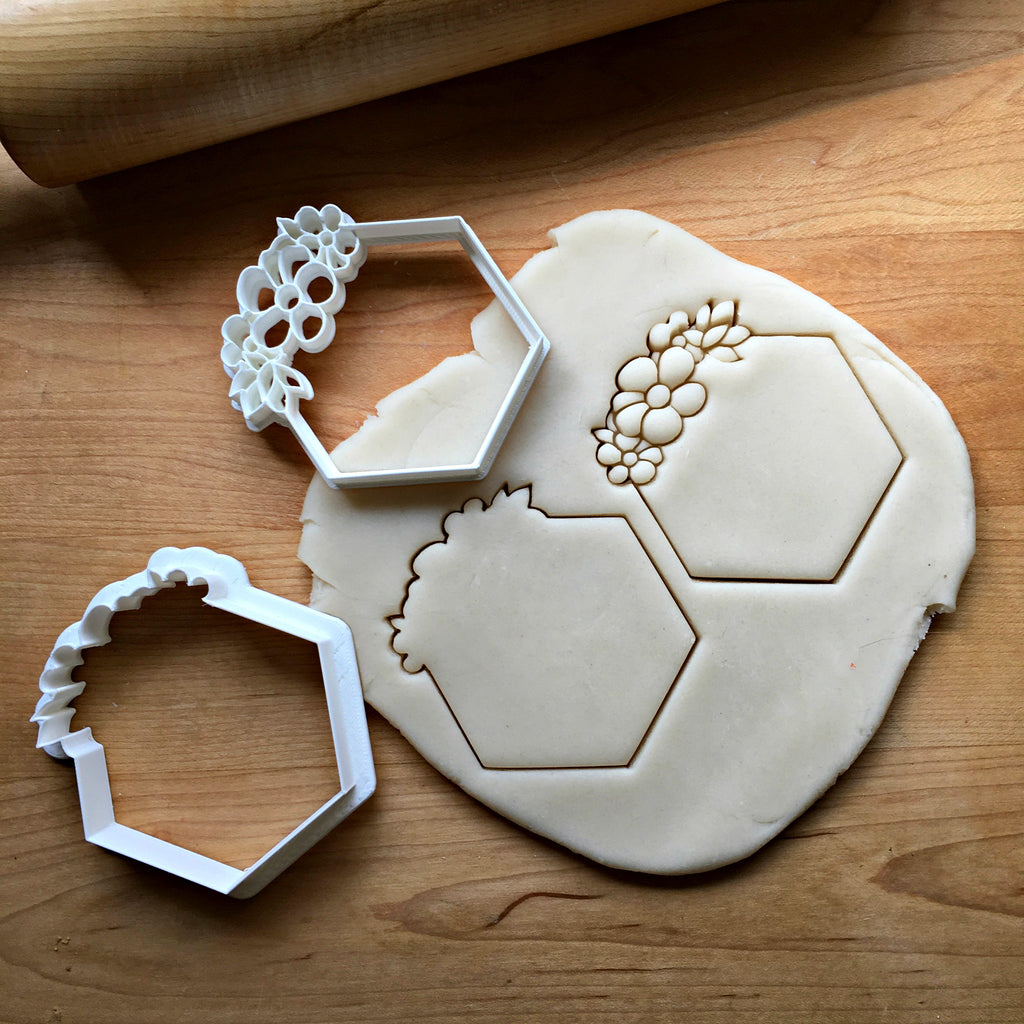 Set of 2 Flowery Hexagon Cookie Cutters/Dishwasher Safe
