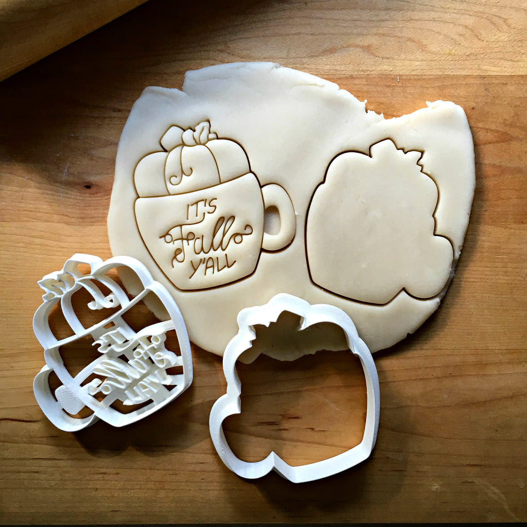 Set of 2 It's Fall Y'all Pumpkin Mug Cookie Cutters/Dishwasher Safe