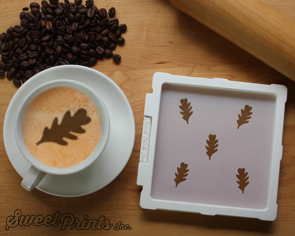 Oak Leaves Cookie Stencil/Coffee Stencil