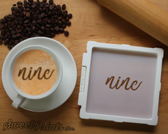 Lettered Number Nine Cookie Stencil/Coffee Stencil