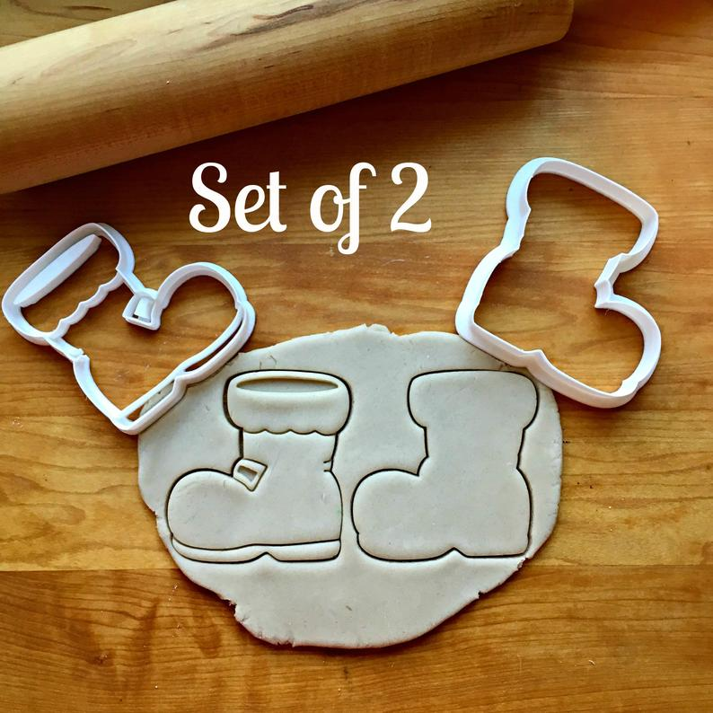 Set of 2 Santa Boot Cookie Cutters/Dishwasher Safe