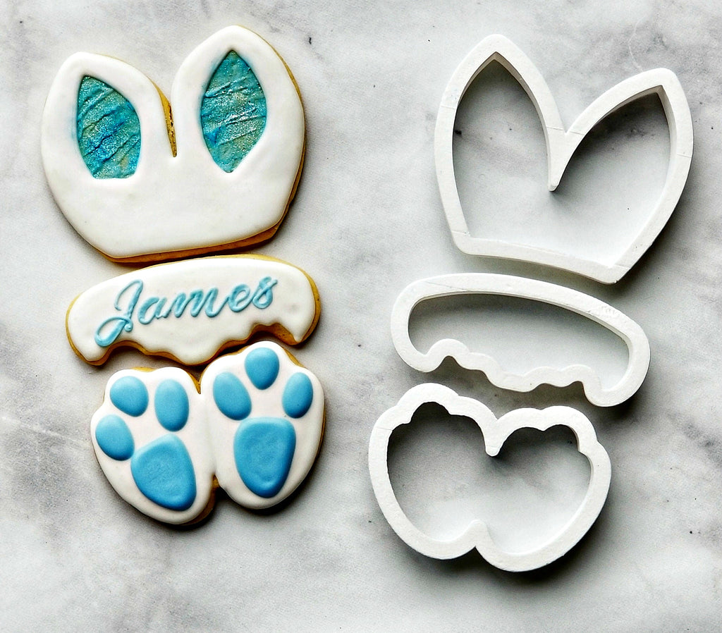 Set of 3 Bunny Ears, Plaque, and Feet Cookie Cutters/Dishwasher Safe
