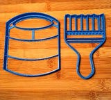 Paint Can and Paint Brush Set of Two Cookie Cutters in Multiple Sizes