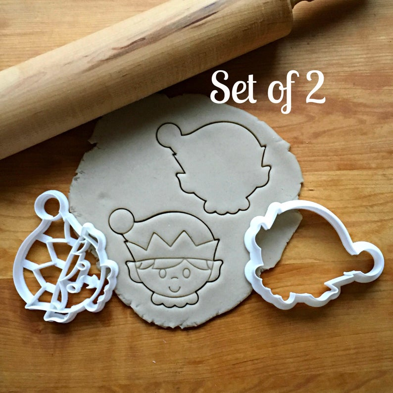 Set of 2 Elf Cookie Cutters/Dishwasher Safe
