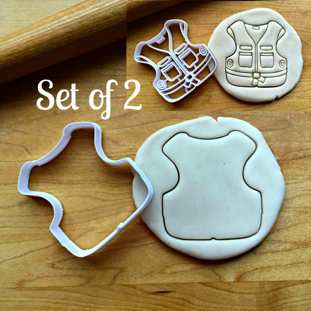 Set of 2 Fishing Vest Cookie Cutters/Dishwasher Safe