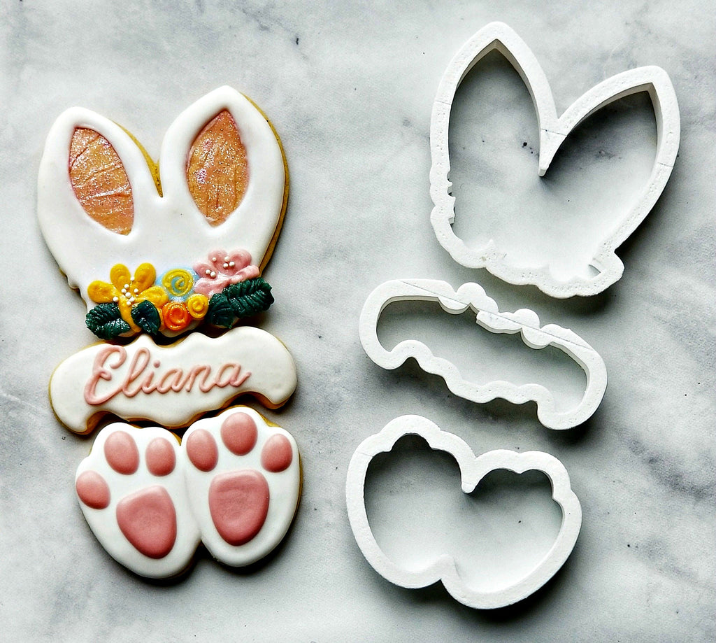 Set of 3 Bunny Ears with Flowers, Plaque, and Feet Cookie Cutters/Dishwasher Safe