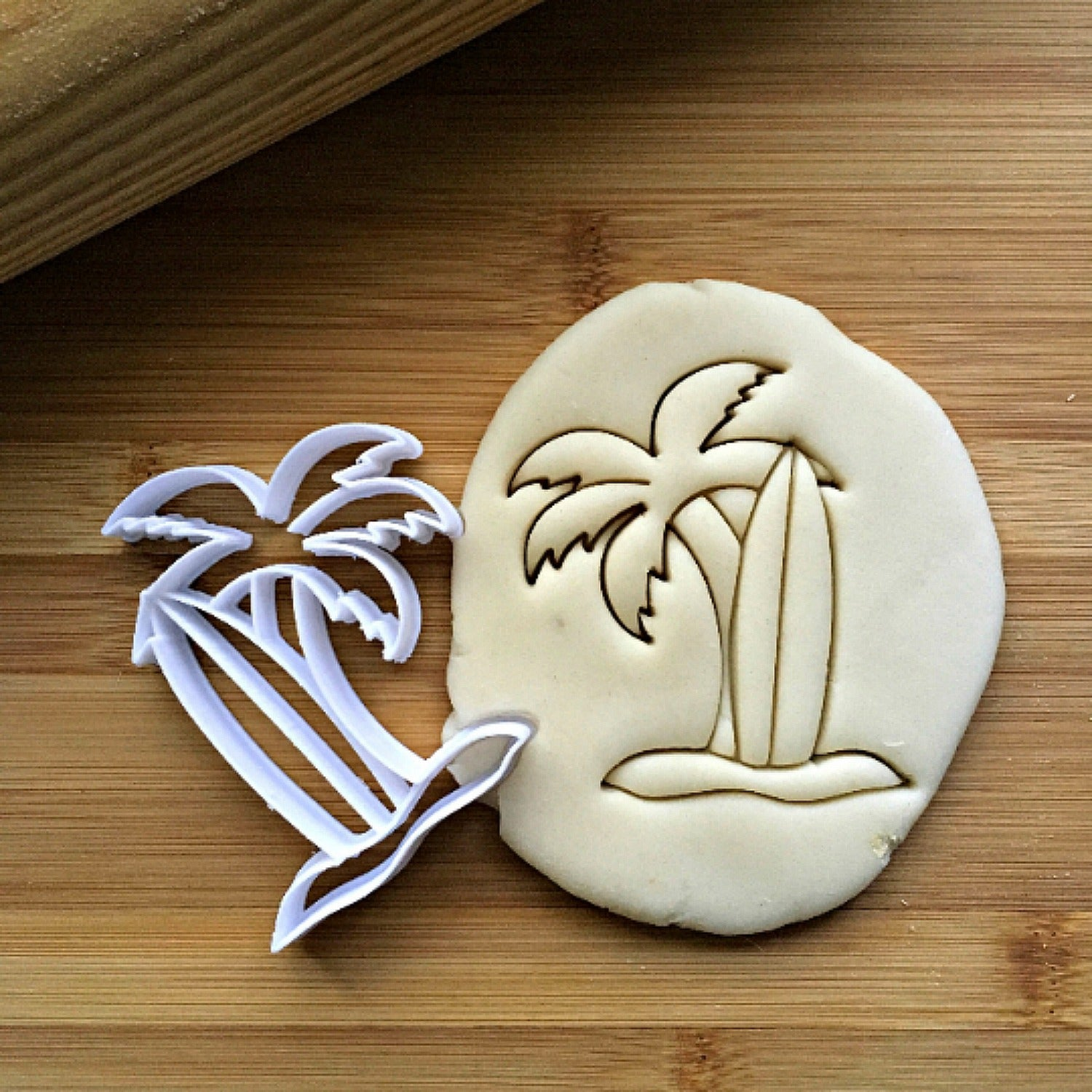 Surf Board and Palm Tree Cookie Cutter/Dishwasher Safe