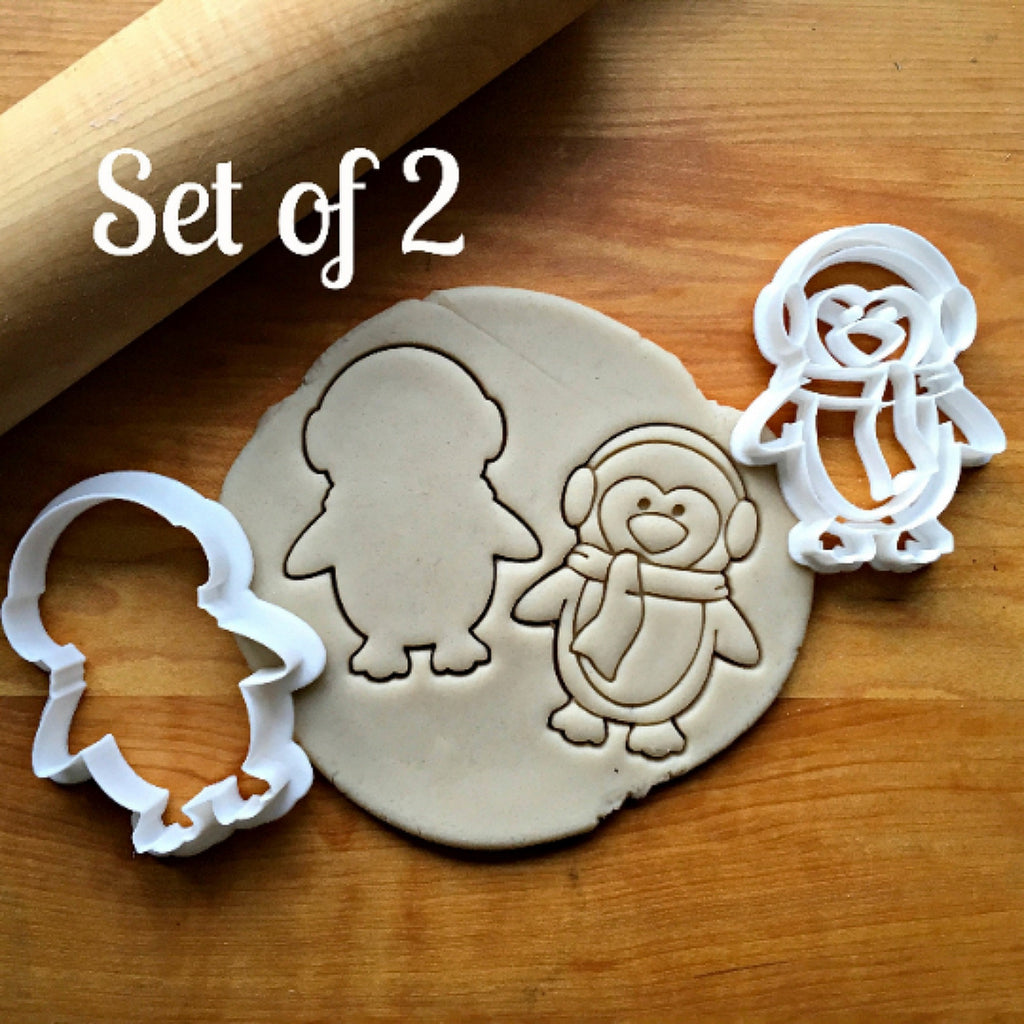 Set of 2 Penguin with Earmuffs Cookie Cutters/Dishwasher Safe