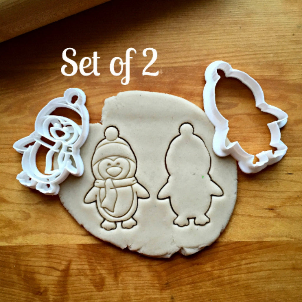 Set of 2 Penguin with Hat Cookie Cutters/Dishwasher Safe