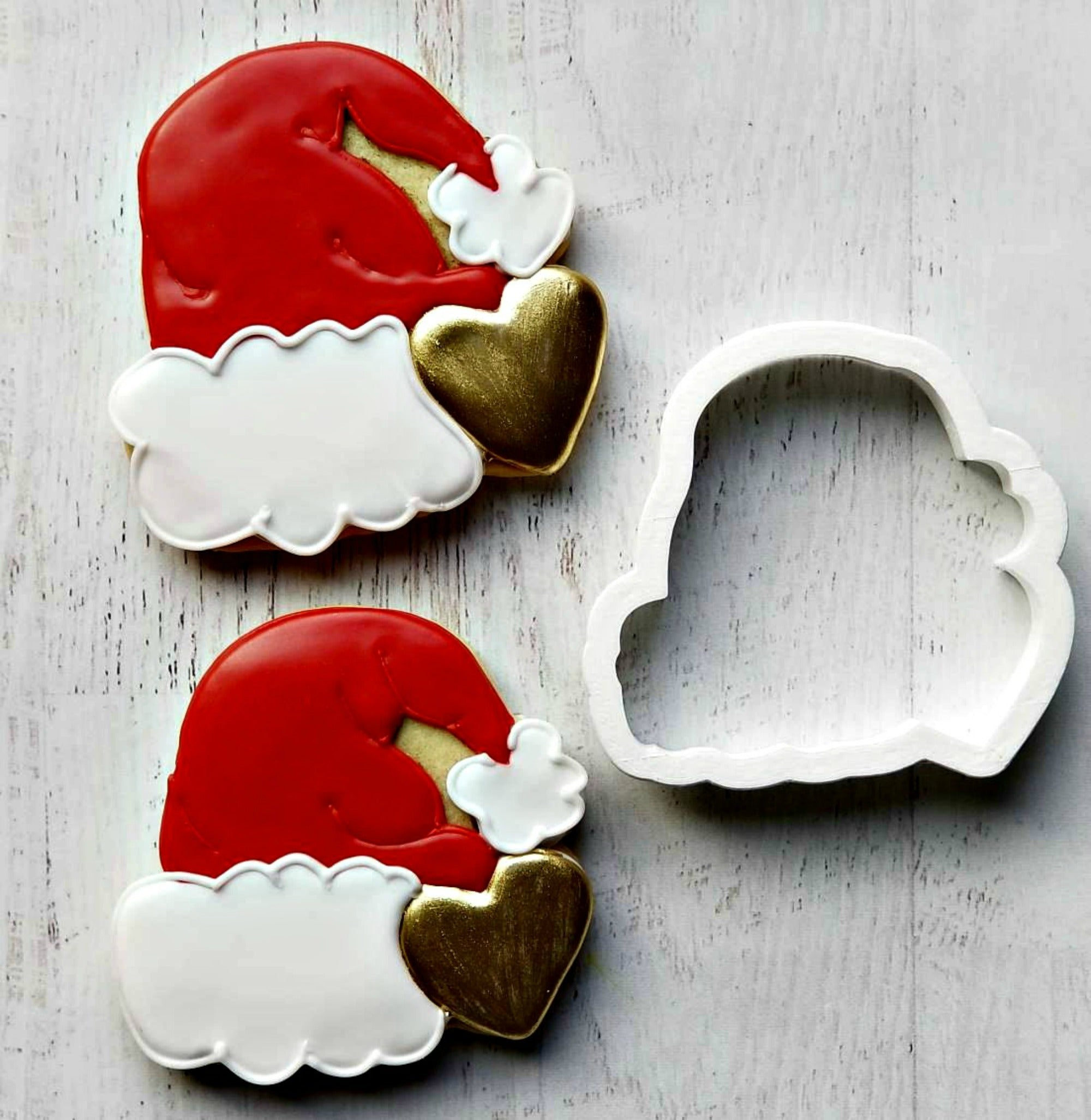 Santa Hat with Heart Cookie Cutter/Dishwasher Safe