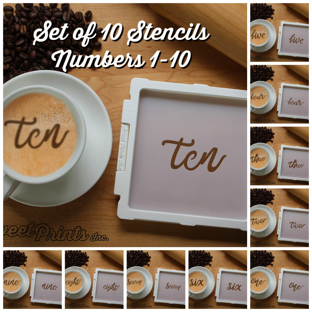 Set of 10 Lettered Number Cookie Stencils/Coffee Stencils