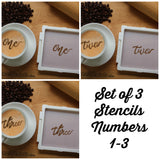 Set of 3 Lettered Number Cookie Stencils/Coffee Stencils