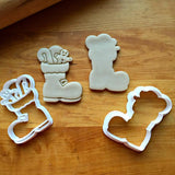 Set of 2 Stuffed Santa Boot Cookie Cutters/Dishwasher Safe