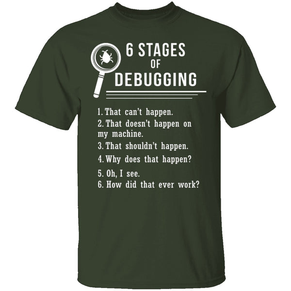 6 Stages Of Debugging T-Shirt CustomCat
