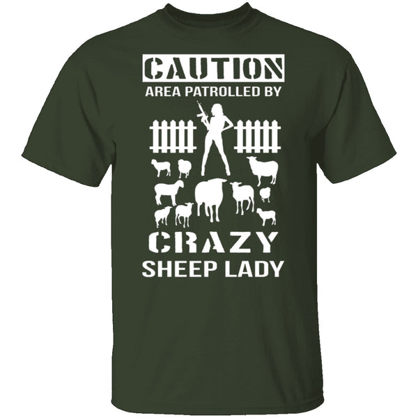 Crazy Sheep Lady T-Shirt CustomCat