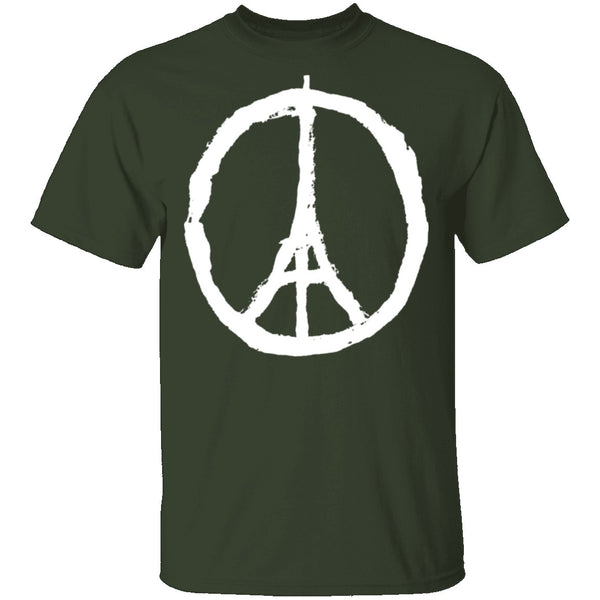 Eiffel Tower Peace Sign T-Shirt CustomCat