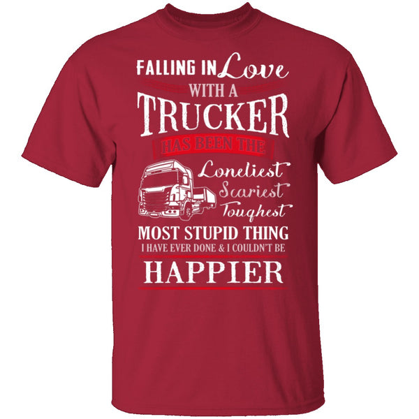 Falling For A Trucker T-Shirt CustomCat