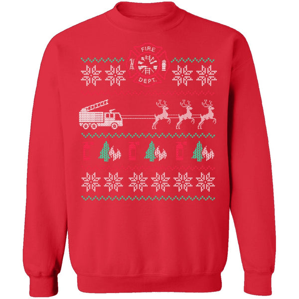 Fire Engine Ugly Christmas Sweater CustomCat