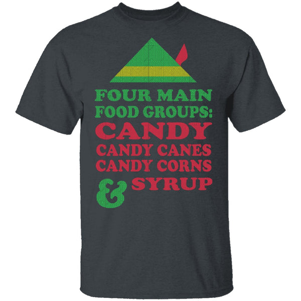 Four Main Food Groups T-Shirt CustomCat
