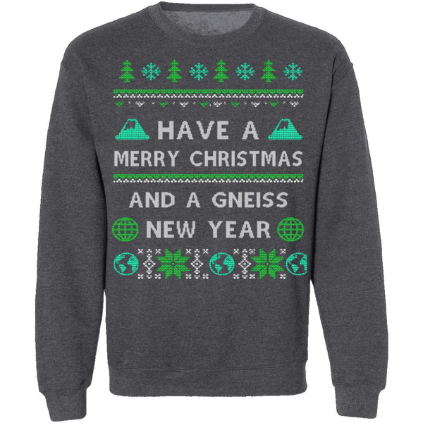 Gneiss New Year Geology Ugly Christmas Sweater CustomCat