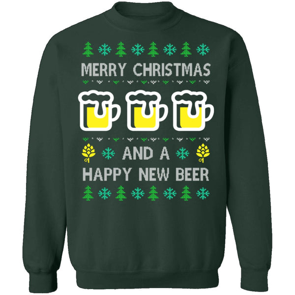 Happy New Beer Ugly Christmas Sweater CustomCat