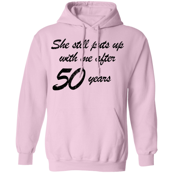 She Still Puts Up With Me After 50 Years T-Shirt CustomCat