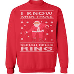 Sleigh Bells Ring Ugly Christmas Sweater CustomCat