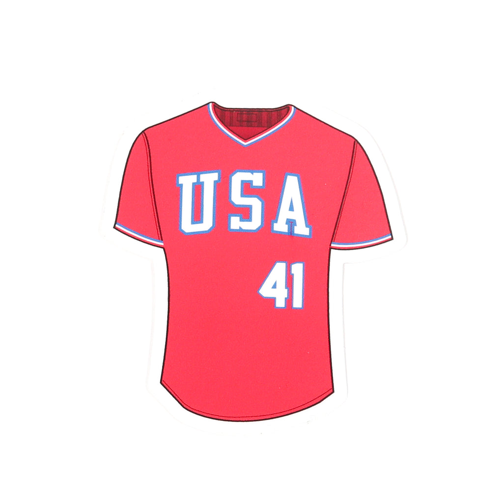 '84 Red Retro Block Jersey Decal