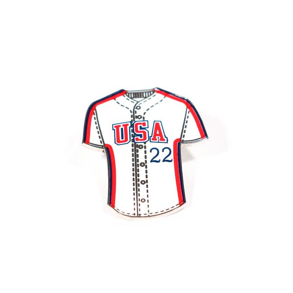 '84 White Retro Block Jersey Lapel Pin