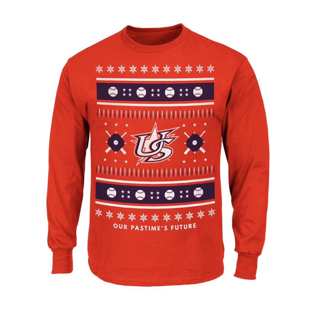 2018 USA BASEBALL UGLY SWEATER LONG SLEEVE TEE