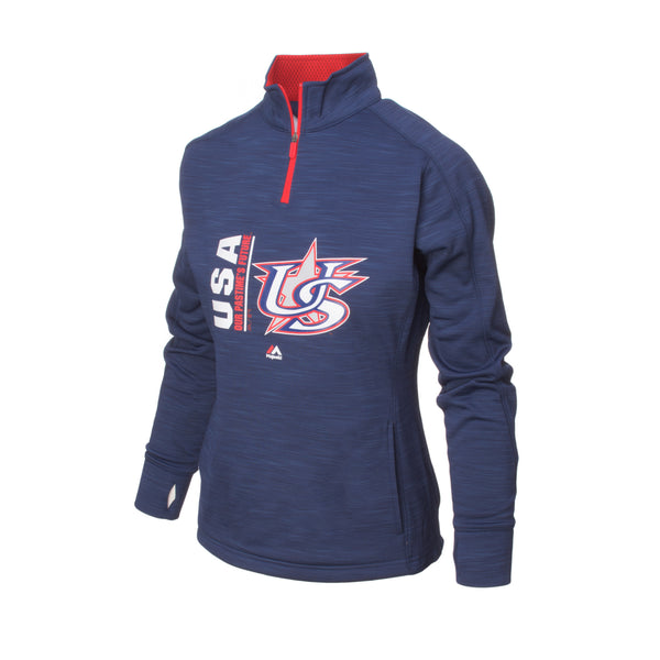 Women's Navy Authentic Collection Icon Streak Fleece Pullover