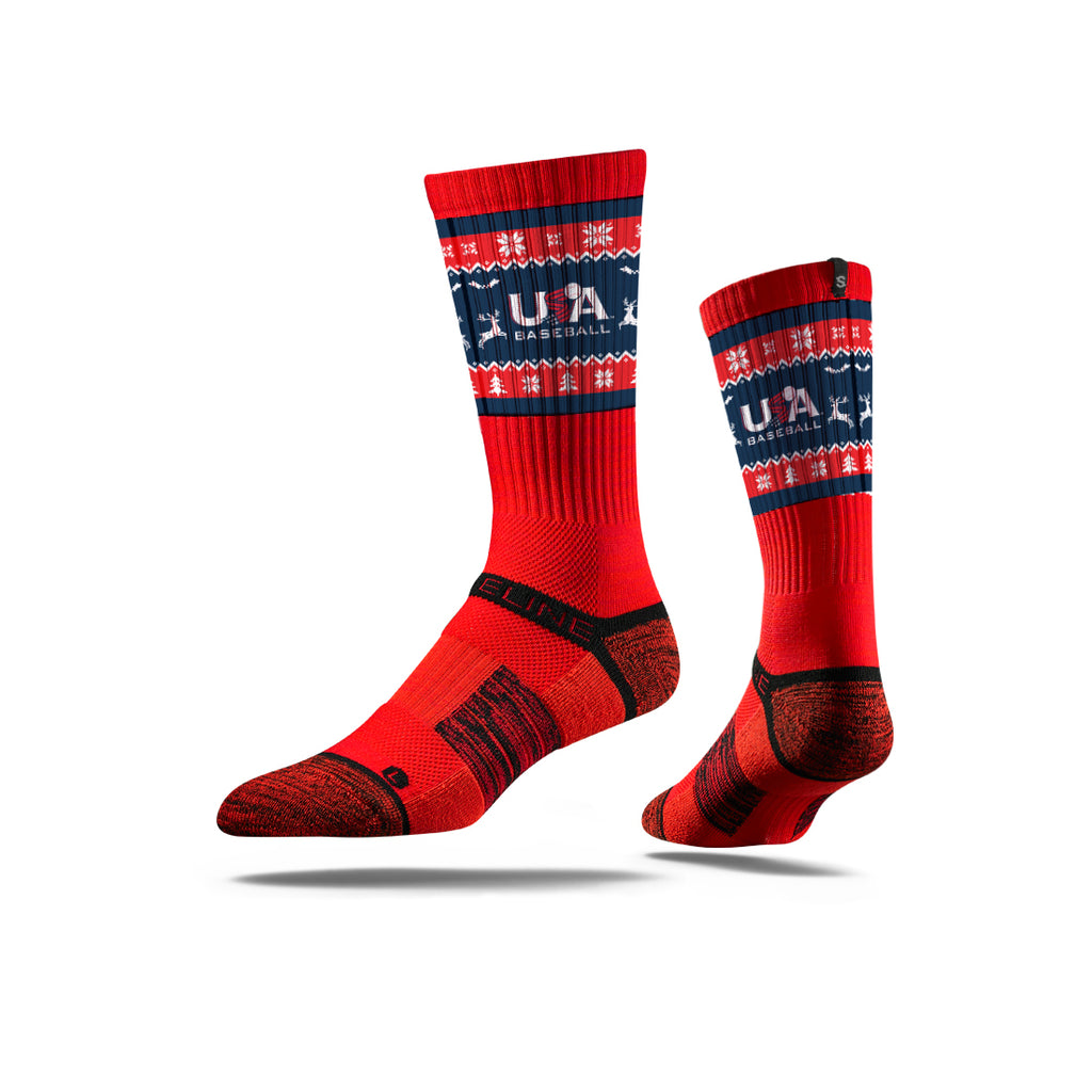 Strideline Red Ugly Sweater Socks