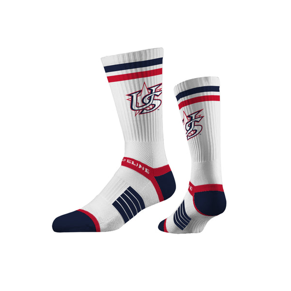 Strideline Premium Crew White Star Socks