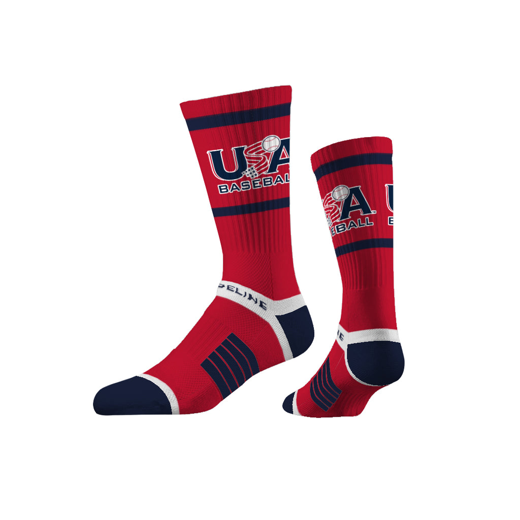 Strideline Premium Crew Red Traditional Socks