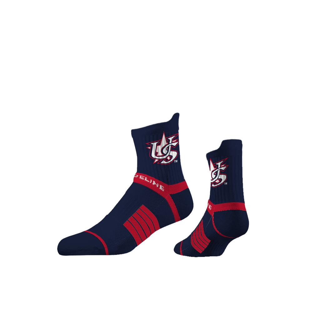 Strideline Premium Mid Crew Navy Star Socks