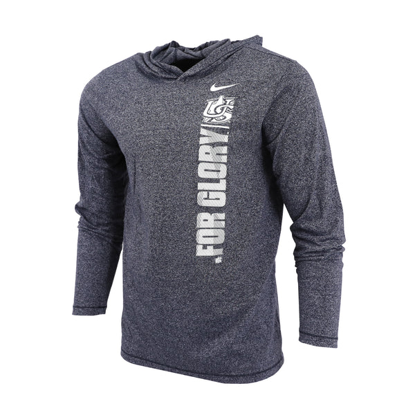 Navy Heather Marled Long Sleeve Hooded Pullover