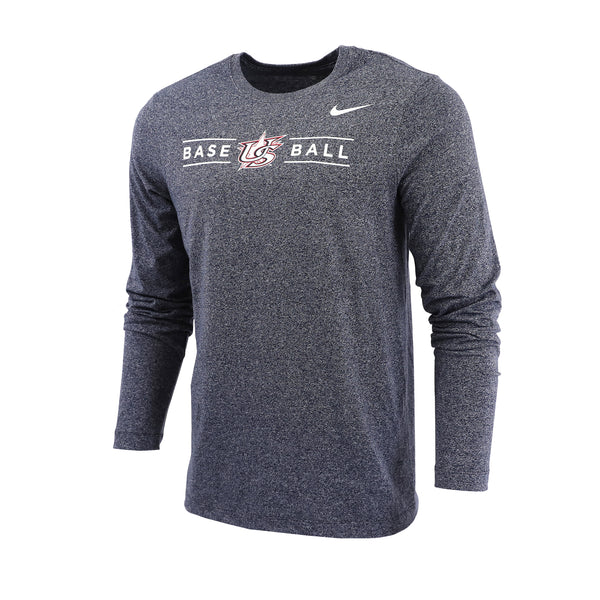 Navy Heather Marled Long Sleeve Tee