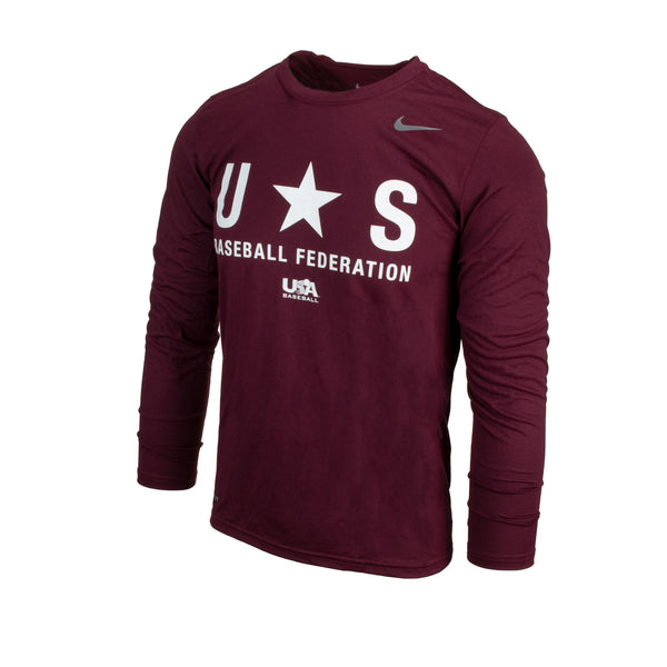 Maroon Baseball Federation Long Sleeve Legend Tee