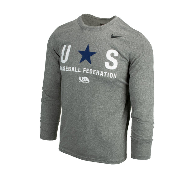 Grey Baseball Federation Long Sleeve Legend Tee