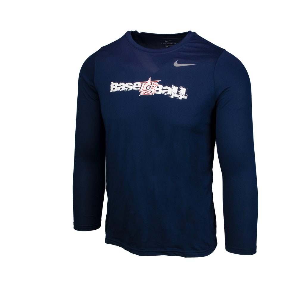 Youth Navy Long Sleeve Power Hitter Legend Tee