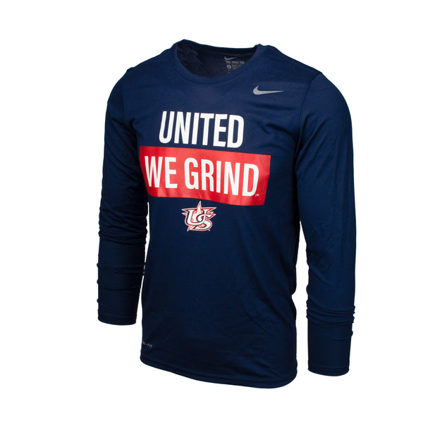 Navy Long Sleeve United We Grind Legend Tee