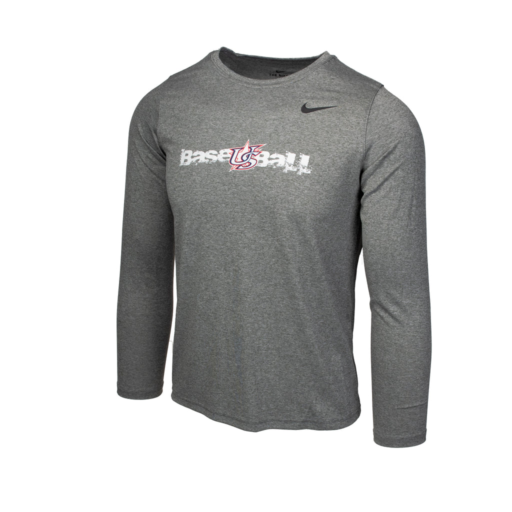 Youth Grey Long Sleeve Power Hitter Legend Tee