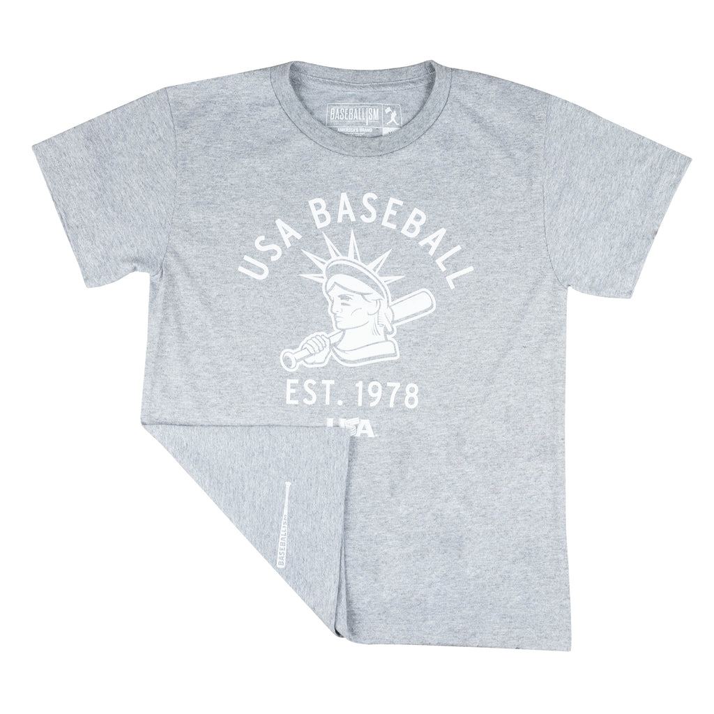 Youth Baseballism Grey Liberty Tee