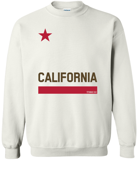 CALIFORNIA FLAG MENS FLEECE SWEATSHIRT - WHITE