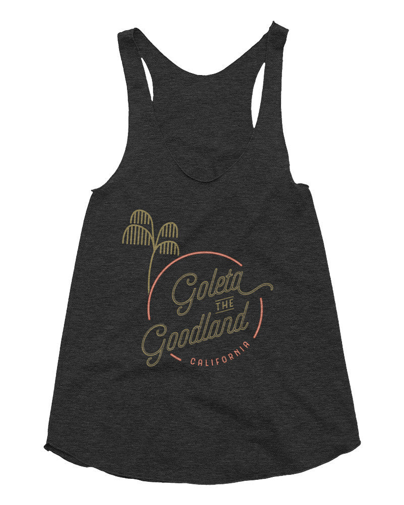 Goleta the Goodland Womens Surf palm tree tank top black