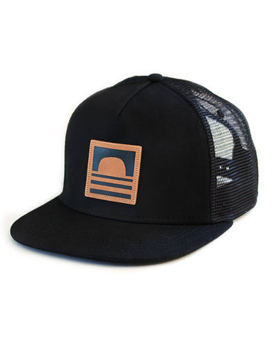 Sundance Beach Leather Logo Snapback Trucker Hat Black