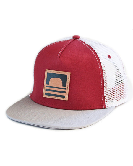 Sundance Beach Leather Logo Snapback Trucker Hat Red