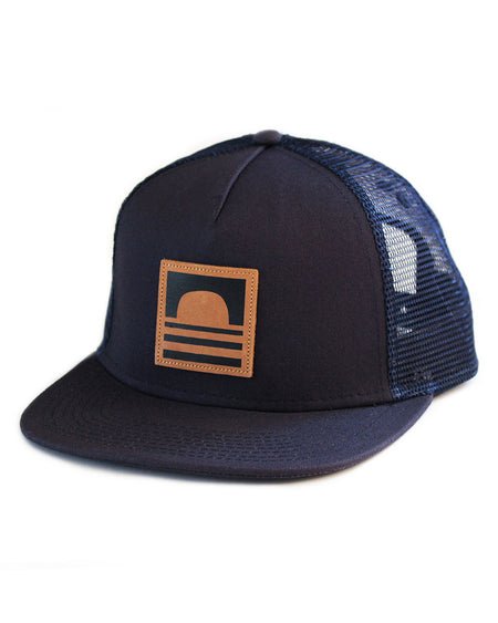 Sundance Beach Leather Logo Snapback Trucker Hat Navy