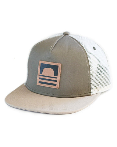 Sundance Beach Leather Logo Snapback Trucker Hat Green