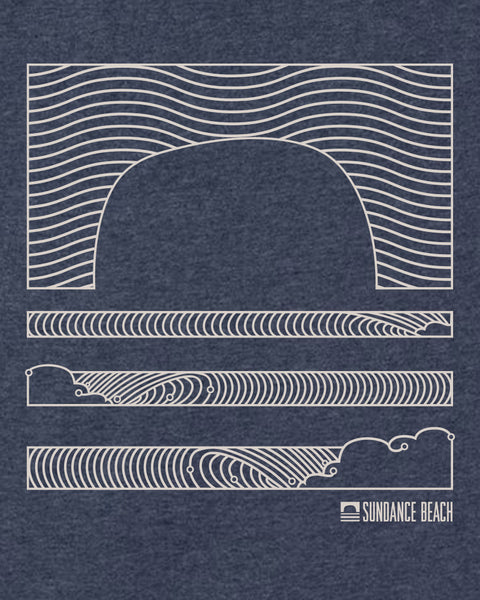 Sundance Beach Linear Waves Mens Tee - Heather Blue